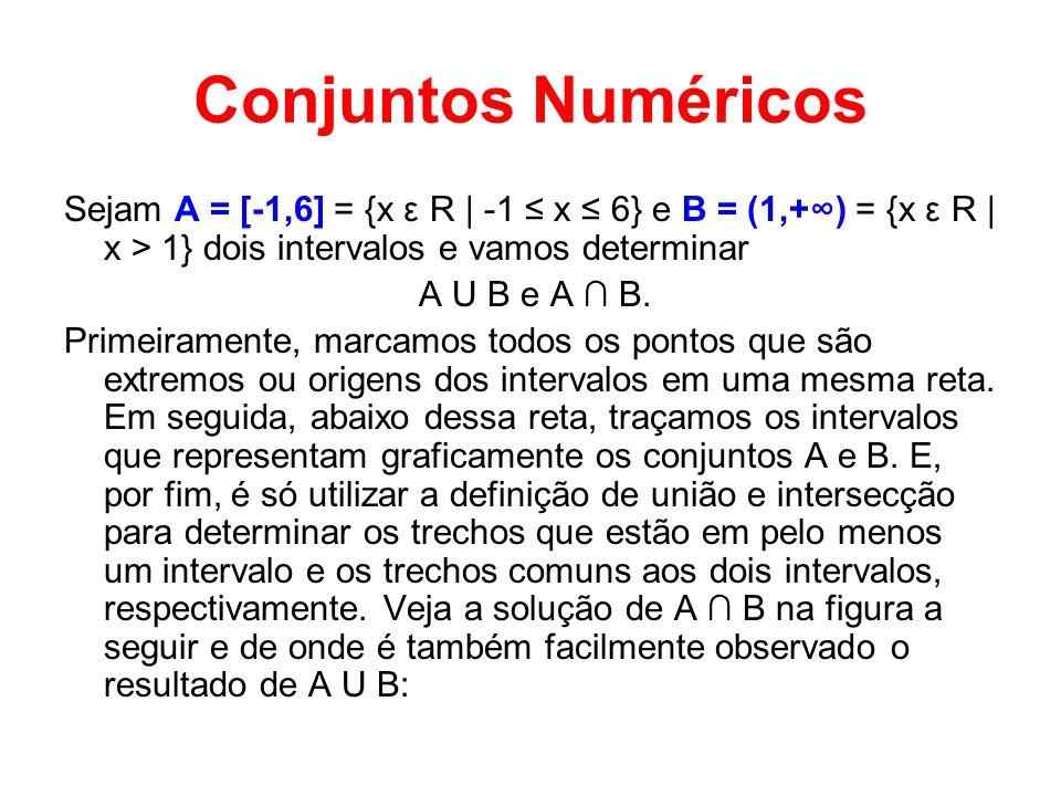 Conjuntos Numéricos Sejam A = [-1,6] = {x ε R | -1 ≤ x ≤ 6} e B = (1,+∞) = {x ε R | x > 1} dois intervalos e vamos determinar.